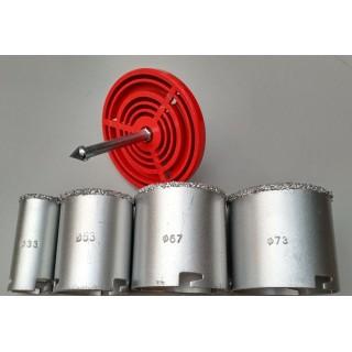 Набор кольцевых коронок с вольфрамовым напылением Ø 33 / Ø 53 / Ø 67 / Ø 7